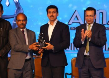 Mr M V Gowtama, CMD, BEL, receiving the All India Management Association (AIMA) Managing India Award for the 'Outstanding PSU of the Year' for BEL from Col Rajyavardhan Singh Rathore, Minister of State for Youth Affairs & Sports (I/C) and Information & Broadcasting, at the awards ceremony held at New Delhi recently.