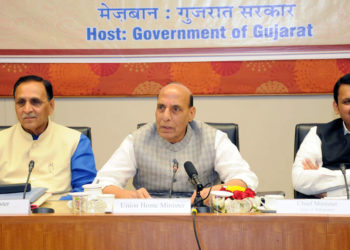 The Union Home Minister, Shri Rajnath Singh chairing the 23rd meeting of the Western Zonal Council, at Gandhinagar, Gujarat on April 26, 2018. The Chief Minister of Gujarat, Shri Vijay Rupani and the Chief Minister of Maharashtra, Shri Devendra Fadnavis are also seen.
