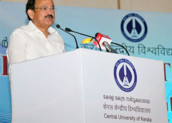 The Vice President, Shri M. Venkaiah Naidu addressing the gathering after inaugurating the new campus of the Central University of Kerala, in Kasargod, Kerala on April 29, 2018.
