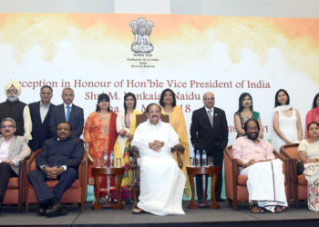 The Vice President, Shri M. Venkaiah Naidu with a group of people, at the Community Reception, in Lima, Peru on May 11, 2018. The Minister of State for Tribal Affairs, Shri Jaswantsinh Sumanbhai Bhabhor and other dignitaries are also seen.
