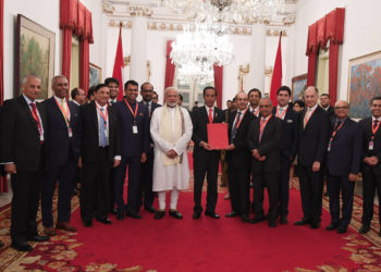 India - Indonesia CEOs Forum presenting report to the Prime Minister, Shri Narendra Modi and the President of Indonesia, Mr. Joko Widodo, in Jakarta, Indonesia on May 30, 2018.