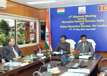 The Director General, Narcotics Control Bureau (NCB), Shri Abhay and the Deputy Inspector General of Police, Police Narcotics Bureau (PNB), Sri Lanka, Mr. Sajeewa Medawatte jointly chairing the opening session of the two-day Third Bilateral Meeting between NCB, India and PNB, Sri Lanka, in New Delhi on May 04, 2018.