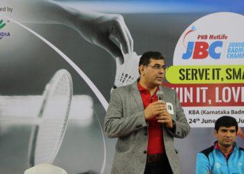 Mr. Nipun Kaushal, Chief Marketing Officer, PNB MetLife at the inauguration of PNB MetLife Junior Badminton Championship in Bangalore on Sunday.