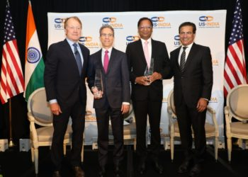 SpiceJet CMD Ajay Singh being awarded USISPF Leadership Award. | From left to right: John Chambers, Chairman of USISPF, Chairman Emeritus and Former CEO, Cisco; Jim Umpleby, CEO of Caterpillar; Ajay Singh, CMD, SpiceJet; Mukesh Aghi, President and CEO of USISPF.