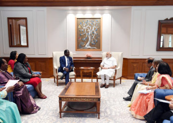 The former Prime Minister of Kenya, Mr. Raila Amolo Odinga calling on the Prime Minister, Shri Narendra Modi, in New Delhi on July 03, 2018.