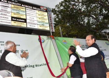 The Union Minister for Science & Technology, Earth Sciences and Environment, Forest & Climate Change, Dr. Harsh Vardhan at the inauguration of the SAFAR: Air Quality Monitoring & Forecasting Station, in New Delhi on July 21, 2018.