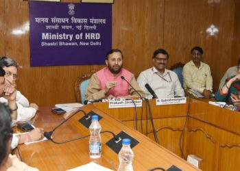 The Union Minister for Human Resource Development,Mr.Prakash Javadekar addressing a press conference on the cabinet decision relating to Higher Education Financing Agency, in New Delhi on July 05, 2018. The Secretary, Department of Higher Education, Mr. R. Subrahmanyam is also seen.