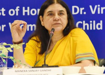 The Union Minister for Women and Child Development, Smt. Maneka Sanjay Gandhi addressing the National Conference of State/UT Ministries In-Charge of Women and Child Development, in New Delhi on July 17, 2018.