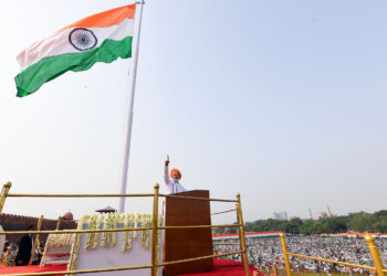 The Prime Minister, Shri Narendra Modi addressing the Nation on the occasion of 72nd Independence Day, in Delhi on August 15, 2018.