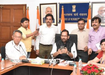 The Union Minister for Minority Affairs, Mukhtar Abbas Naqvi launching the Scholarship Mobile App, in New Delhi on September 13, 2018. The Secretary, Ministry of Minority Affairs, Ameising Luikham is also seen.