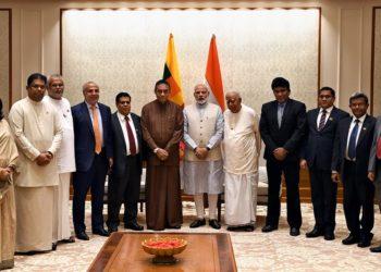 The Prime Minister, Narendra Modi with a delegation led by the Speaker of the Sri Lankan Parliament, Mr. Karu Jayasurya, in New Delhi on September 10, 2018.