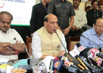 The Union Home Minister, Rajnath Singh addressing a press conference after the 28th Meeting of the Southern Zonal Council, in Bengaluru on September 18, 2018. The Chief Minister of Karnataka, H.D. Kumaraswamy is also seen.