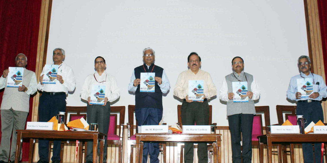 The Union Minister for Science & Technology, Earth Sciences and Environment, Forest & Climate Change, Dr. Harsh Vardhan at the launch of the Air Quality Emergency Early Warning System, in New Delhi on October 15, 2018. The Secretary, Ministry of Earth Sciences, Dr. M. Rajeevan and other dignitaries are also seen.