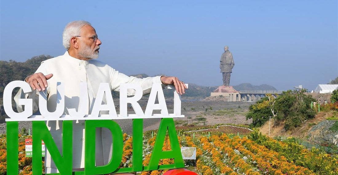 The Prime Minister, Narendra Modi at the inauguration of the Valley of Flowers, during the dedication ceremony of the 'Statue of Unity' to the Nation, on the occasion of the Rashtriya Ekta Diwas, at Kevadiya, in Narmada District of Gujarat on October 31, 2018.