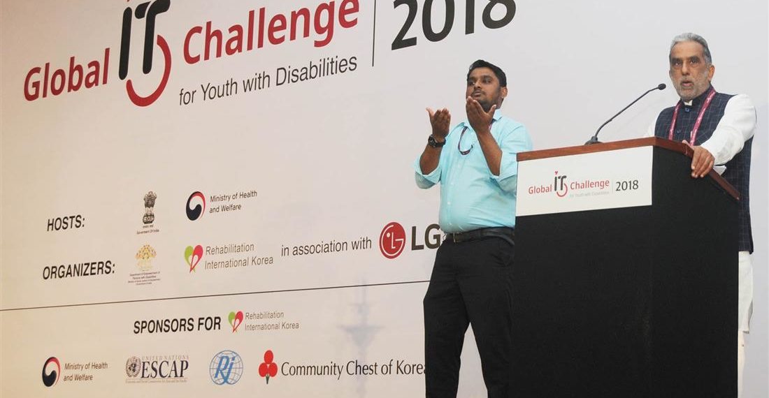"""The Minister of State for Social Justice & Empowerment, Krishan Pal addressing at the inauguration of the """"Global IT Challenge for Youth with Disabilities, 2018"""", organised by the DEPwD, Ministry of Social Justice & Empowerment, in New Delhi on November 09, 2018."""