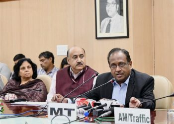 The Member Traffic, Railway Board,Girish Pillai briefing the media about the all-India roll out of unreserved mobile ticketing facility (UTS on mobile), in New Delhi on November 01, 2018