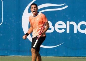 Youssef Hossam exults after winning a point against top seed Albot Radu in the first round of the Bengaluru Open ATP Challenger tennis tournament at the KSLTA on Tuesday.