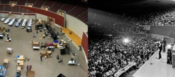The Kay Bailey Hutchison Convention Center arena in Dallas (Texas) with SCinet in November 2018 and the Beatles in September 1964. (Photo: Business Wire)