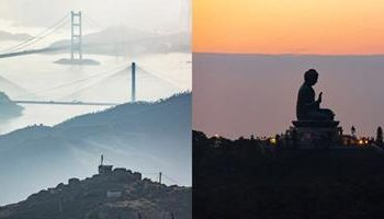 Left: Tai Mo Shan, the highest peak in Hong Kong. Right: Ngong Ping, a serenity view of Tian Tan Buddha. (PHOTOGRAPH BY TUGO CHENG)