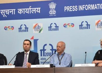 The Consul General of Israel in Mumbai, Ya'akov Finkelstein, the Israeli Director and Writer, Mr. Dan Wolman and David Silber at a press conference, during the 49th International Film Festival of India (IFFI-2018), in Panaji, Goa on November 21, 2018.