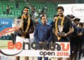Champion Prajnesh Gunneswaran (left) and runner-up Saketh Myneni strike a pose with the Deputy Chief Minister of Karnataka Dr. G Parameshwara during the prize presentation of the Bengaluru Open ATP Challenger at the KSLTA on Saturday. Pic credit Deepthi Indukuri