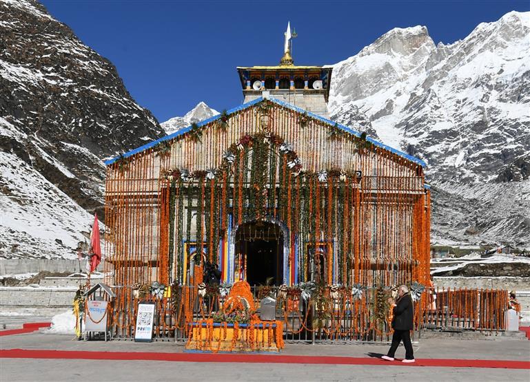 The Prime Minister, Narendra Modi offering prayers at Kedarnath Temple, in Uttarakhand on November 07, 2018.