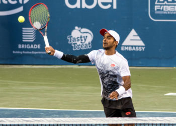 Sumit Nagal in action against Jay Clarke