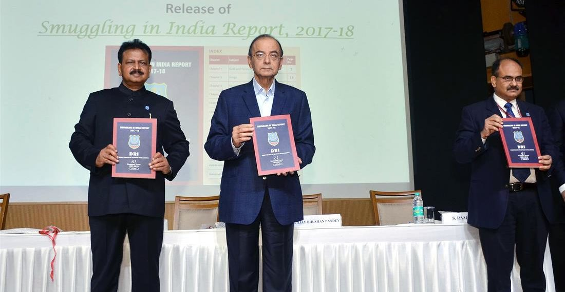 The Union Minister for Finance and Corporate Affairs,i Arun Jaitley releasing the Smuggling in India Report, 2017-18, at the 61st Founding Day of Directorate of Revenue Intelligence (DRI), in New Delhi on December 04, 2018. The Revenue Secretary, Dr. Ajay Bhushan Pandey and the DG, DRI, D.P. Dash are also seen.