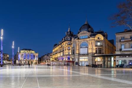 Place de la Comedie square at dusk, Montpellier, France