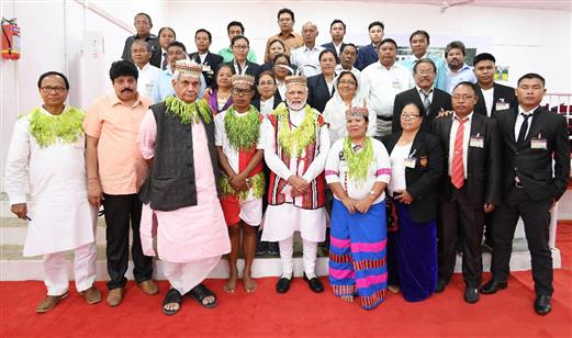 The Prime Minister, Narendra Modi interacted with the Tribal Chiefs and eminent sportspersons from the islands, in Car Nicobar on December 30, 2018. The Minister of State for Communications (I/C) and Railways, Manoj Sinha is also seen