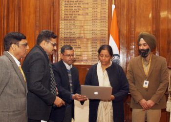 The Union Minister for Defence, Smt. Nirmala Sitharaman launching a newly designed web page (https://aeroindia.gov.in/Drone) for 'Drone Olympics' event to be held during Aero India 2019, in New Delhi on December 28, 2018.