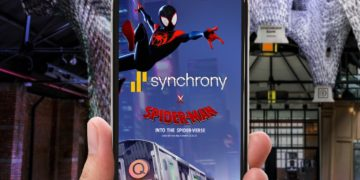 On Wednesday, December 12, 2018, Synchrony will host a new immersive experience in Brooklyn, NY using augmented reality, inspired by Columbia Pictures and Sony Pictures Animation's Spider-Man™: Into the Spider-Verse. Visitors can immerse themselves in a spiderweb installation, taking on the web-spinning abilities of Spider-Man through a mobile browser-based experience, where guests can fire virtual webs and earn chances to win cash. (Photo: Synchrony)