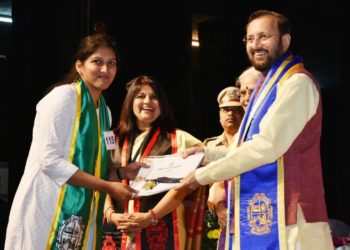 The Union Minister for Human Resource Development, Prakash Javadekar giving away the degrees to the students at the 31st Convocation of Goa University, in Goa on December 15, 2018. The Vice Chancellor, Prof. Varun Sahani is also seen.