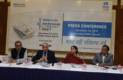 Chanakya Chaudhary, vice president, corporate services, Tata Steel, addressing the audience at the press conference organised to announce the second edition of Jharkhand Literary Meet