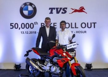 Dr. Markus Schramm, Head of BMW Motorrad, and Mr. KN Radhakrishnan, Director & CEO, TVS Motor Company, at the roll out of 50,000th unit of the BMW 310cc motorcycle in Hosur, Tamil Nadu.