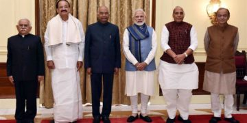 The President, Ram Nath Kovind, the Vice President, M. Venkaiah Naidu and the Prime Minister, Narendra Modi at a swearing-in ceremony of Sudhir Bhargava as Chief Information Commissioner, at Rashtrapati Bhavan, in New Delhi on January 01, 2019. The Union Home Minister, Rajnath Singh and the Union Minister for Finance and Corporate Affairs, Arun Jaitley are also seen.