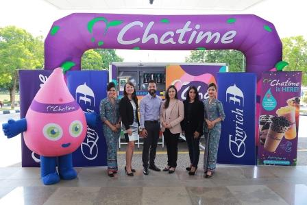 (Second from left) Malaysia Airlines' Head of Customer Experience, Lau Yin May; Enrich Lead, Amiroel Shazrie Yussof; Executive Director Chatime Malaysia, Widayu Latiff and Group Managing Director Chatime Malaysia, Aliza Ali at Malaysia Airlines' Headquarters in Sepang.