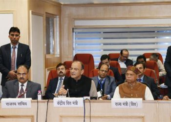 The Union Minister for Finance and Corporate Affairs, Arun Jaitley addressing a press conference on the 32nd GST Council meeting, in New Delhi on January 10, 2019. The Minister of State for Finance, Shiv Pratap Shukla and the Revenue Secretary, Dr. Ajay Bhushan Pandey are also seen.