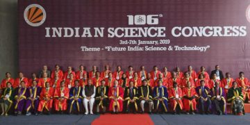 The Prime Minister, Narendra Modi in a group photograph at the 106th session of the Indian Science Congress, at Jalandhar, Punjab on January 03, 2019. The Governor of Punjab & the Administrator of Chandigarh, V.P. Singh Badnore, the Union Minister for Science & Technology, Earth Sciences and Environment, Forest & Climate Change, Dr. Harsh Vardhan and the Minister of State for Social Justice & Empowerment, Vijay Sampla are also seen.
