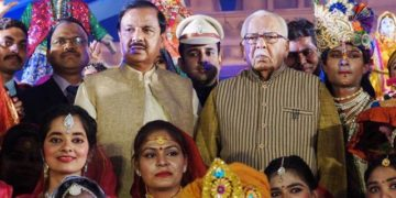 The Governor of Uttar Pradesh, Ram Naik and the Minister of State for Culture (I/C) and Environment, Forest & Climate Change, Dr. Mahesh Sharma at the inauguration of the Sanskriti Kumbh cultural extravaganza, at Kumbh Mela area, in Prayagraj, Uttar Pradesh on January 10, 2019.