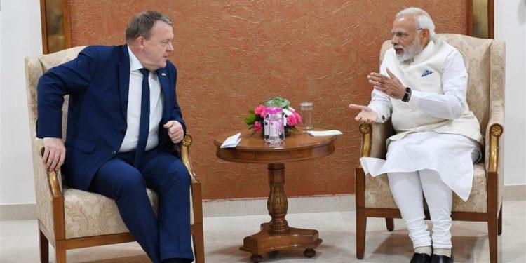 The Prime Minister, Narendra Modi meeting the Prime Minister of Denmark. Mr. Lars Lokke Rasmussen, on the sidelines of the 9th Vibrant Gujarat Global Summit, at Mahatma Mandir, in Gandhinagar, Gujarat on January 18, 2019.