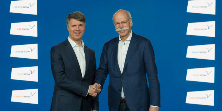 BMW Group and Daimler AG join services for urban mobility. The cooperation comprises the five Joint Ventures REACH NOW (Multimodal), CHARGE NOW (Charging), FREE NOW (Ride-Hailing), PARK NOW (Parking) and SHARE NOW (CarSharing). L-r: Harald Krüger, Chairman of the Board of Management of BMW AG, and Dieter Zetsche, Chairman of the Board of Management of Daimler AG and Head of Mercedes-Benz Cars. (Berlin, 22 February 2019).