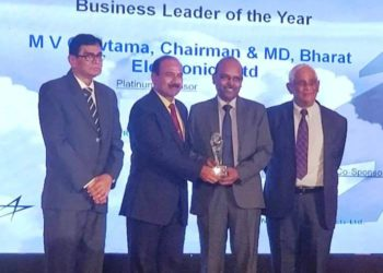 Mr Gowtama M V, Chairman & Managing Director, Bharat Electronics Ltd (BEL), receiving the International Aerospace 'Business Leader of the Year' Award from Air Chief Marshal (Retd) Arup Raha, former Chief of Air Staff, at the Aerospace & Defence Awards (2019) organised by International Aerospace at Bengaluru today. Also seen are Vice Admiral (Retd) Ganesh Mahadevan and Mr Trilok Desai, Editor, International Aerospace.