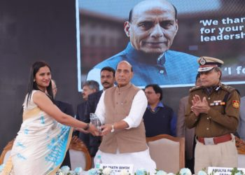 The Union Home Minister, Rajnath Singh giving away the Cyber Awareness Mitra Awards, during the inauguration of the Cyber Prevention, Awareness & Detection Centre (CyPAD) of Delhi Police and National Cyber Forensic Lab, MHA, in New Delhi on February 18, 2019. The Delhi Police Commissioner, Amulya Patnaik is also seen.