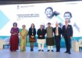 (L- R) MC Shivani Pasrich; Dr. Soumya Swaminathan, WHO Deputy-Director General for Programs; Her Excellency Professor Agnès Buzyn, French Minister of Solidarity and Health; J.P. Nadda, India's Minister for Health and Family Welfare: Piyush Goyal, India's Minister of Finance and Corporate Affairs; Peter Sands, Executive Director of the Global Fund; Jean-Claude Kugener, Ambassador of the Grand Duchy of Luxembourg to the Republic of India.