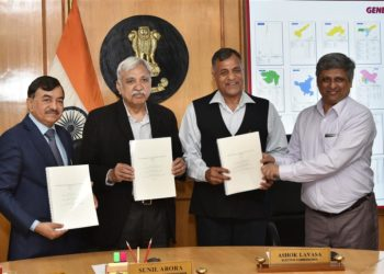 The Head of the Indian Statistical Institute (ISI), Delhi Centre, Prof. Abhay G. Bhatt presenting its Report on Sample Size of Voter Verifiable Paper Audit Trail (VVPAT) counting to the Chief Election Commissioner, Sunil Arora and the Election Commissioners, Ashok Lavasa and Sushil Chandra, in New Delhi on March 22, 2019.
