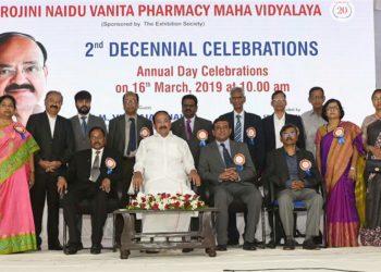 The Vice President, M. Venkaiah Naidu with the Governing Body Members of Sarojini Naidu Vanita Pharmacy Maha Vidyalaya, at the 2nd decennial celebrations, in Hyderabad on March 16, 2019.