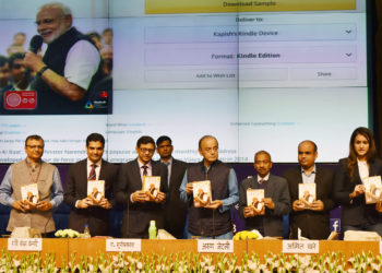 The Union Minister for Finance and Corporate Affairs, Arun Jaitley releasing the book 'Mann ki Baat - A Social Revolution on Radio', in New Delhi on March 02, 2019. The Secretary, Ministry of Information & Broadcasting, Shri Amit Khare, the Chairman, Prasar Bharati, Dr. A. Surya Prakash and other dignitaries are also seen.