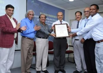 From Left to Right Shri. B. K. Rana, CEO of Quality & Accreditation Institute; Dr. Venkatesh Thuppil, Lead Man of India; Shri. K. V. R. Tagore, Former Additional DGP, Government of Karnataka; Dr. K. Bhujang Shetty, Chairman & Managing Director, Narayana Nethralaya; Gp. Capt. (Retd.) S. K. Mittal, VSM, CEO, Narayana Nethralaya; Dr. (Maj.) Narendra P., COO & Administrator, Narayana Nethralaya 2 & 3; and Dr. Venkataramana A., Director of Laboratory Services, Narayana Nethralaya Institute of Molecular Diagnostics & Laboratory Services with the ISO 15189:2012 Accreditation Certificate at Narayana Nethralaya on 18th March, 2019.